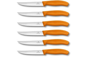 6 Couteaux à steak Victorinox lame crantée 12cm manche orange